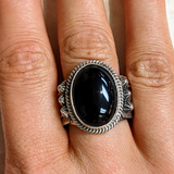 Black Onyx Navajo Ring with Feather Design, signed