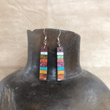 Mary Louise Tafoya, Kewa (Santo Domingo) Pueblo Multi Stone Mosaic Earrings on Turquoise 0/178