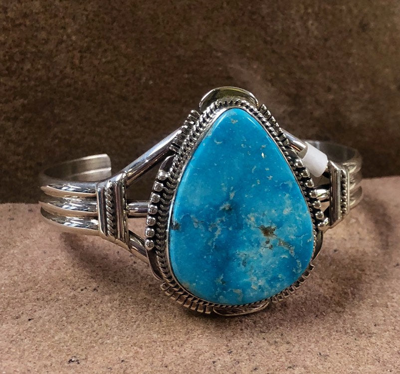 Authentic Native American Kingman Turquoise Bracelet Cuff by J. Nelson