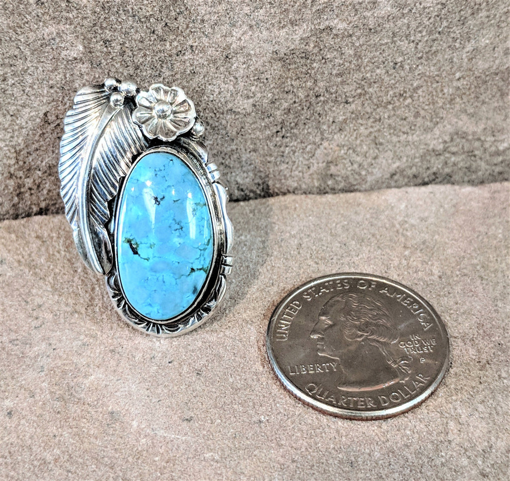 Authentic Native American Turquoise Ring with Feather and Flower Design