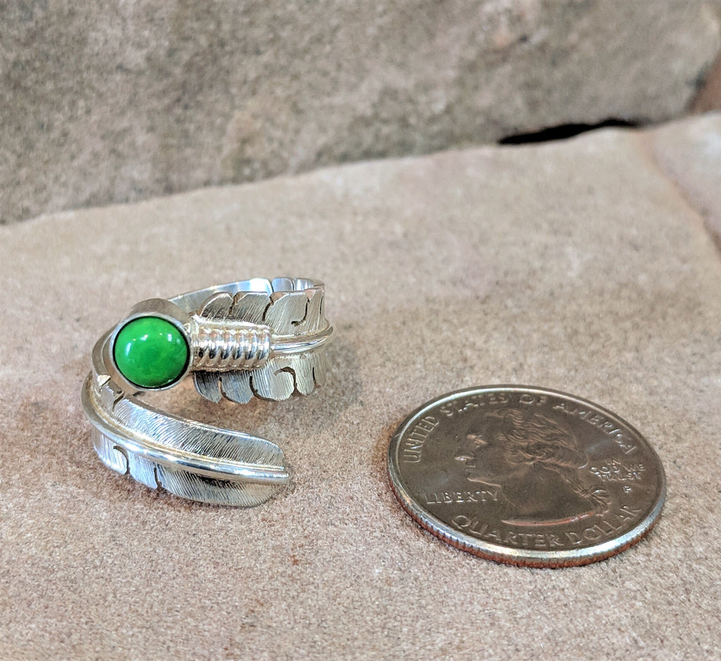 Authentic Native American Handmade Gaspiete Feather Wrap Ring by David Kuticka, Isleta Pueblo