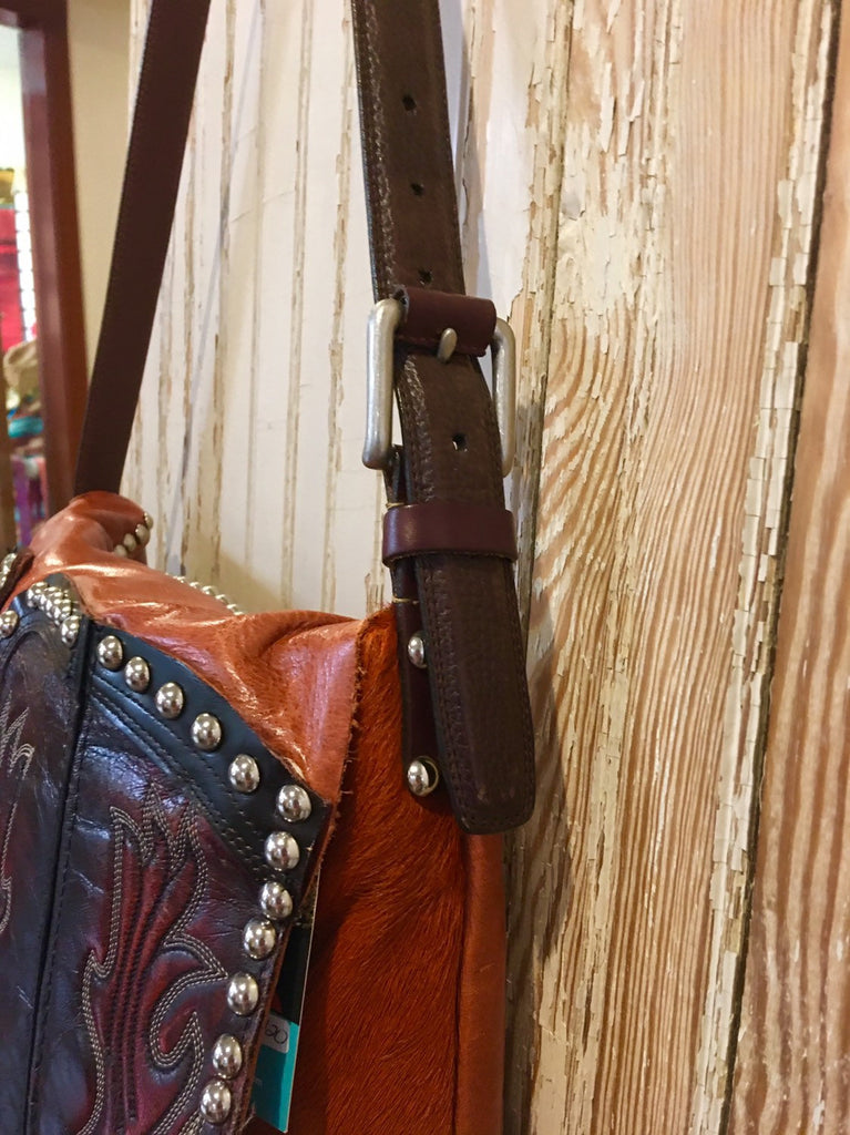 Handbag Hair on Hide + Leather Custom One of a Kind with Re-purpose Cowboy Boot