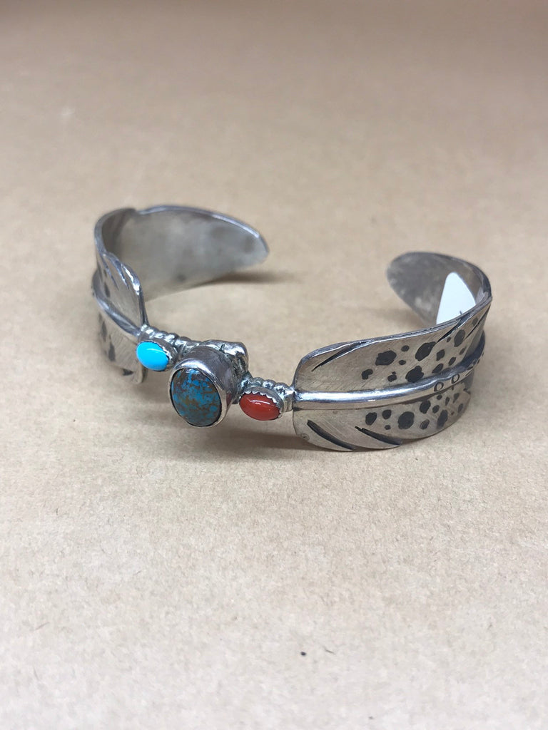 Authentic Native American Red Tail Hawk Feather Turquoise Cuff Bracelet