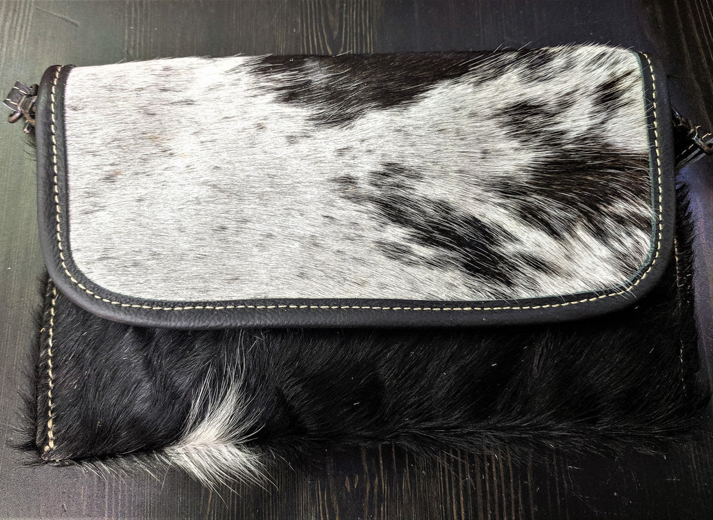 Handcrafted Black and White Hair on Hide & Leather Crossbody Bag/Purse