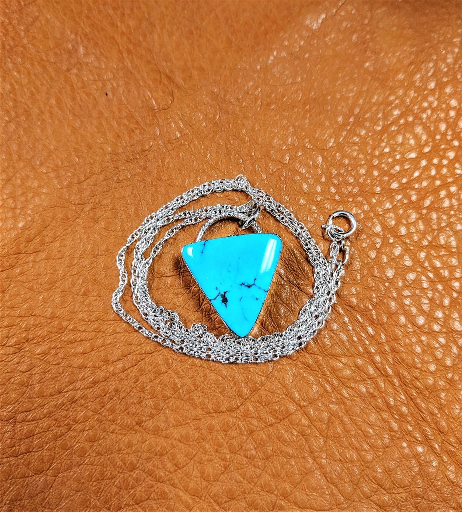 Handmade Native American Triangle Turquoise Necklace by Navajo Artist David Lopez