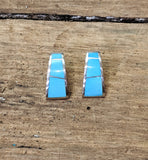 Native American Zuni Inlay Turquoise and Sterling Silver Half-Hoop Earrings