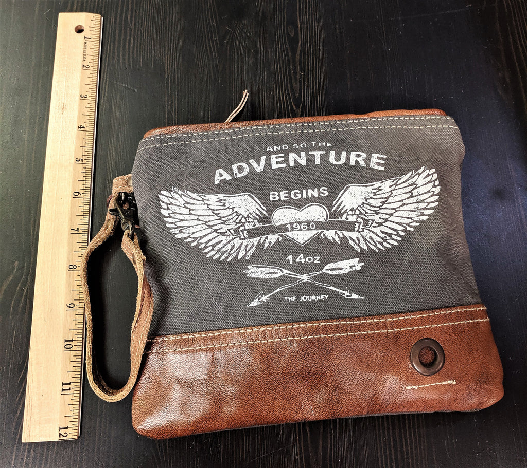 Handcrafted Adventure Begins Small Canvas And Leather Clutch/Wristlet
