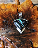 Native American Navajo Inlay Pendant with Blue Cultured Opal and Black Jet