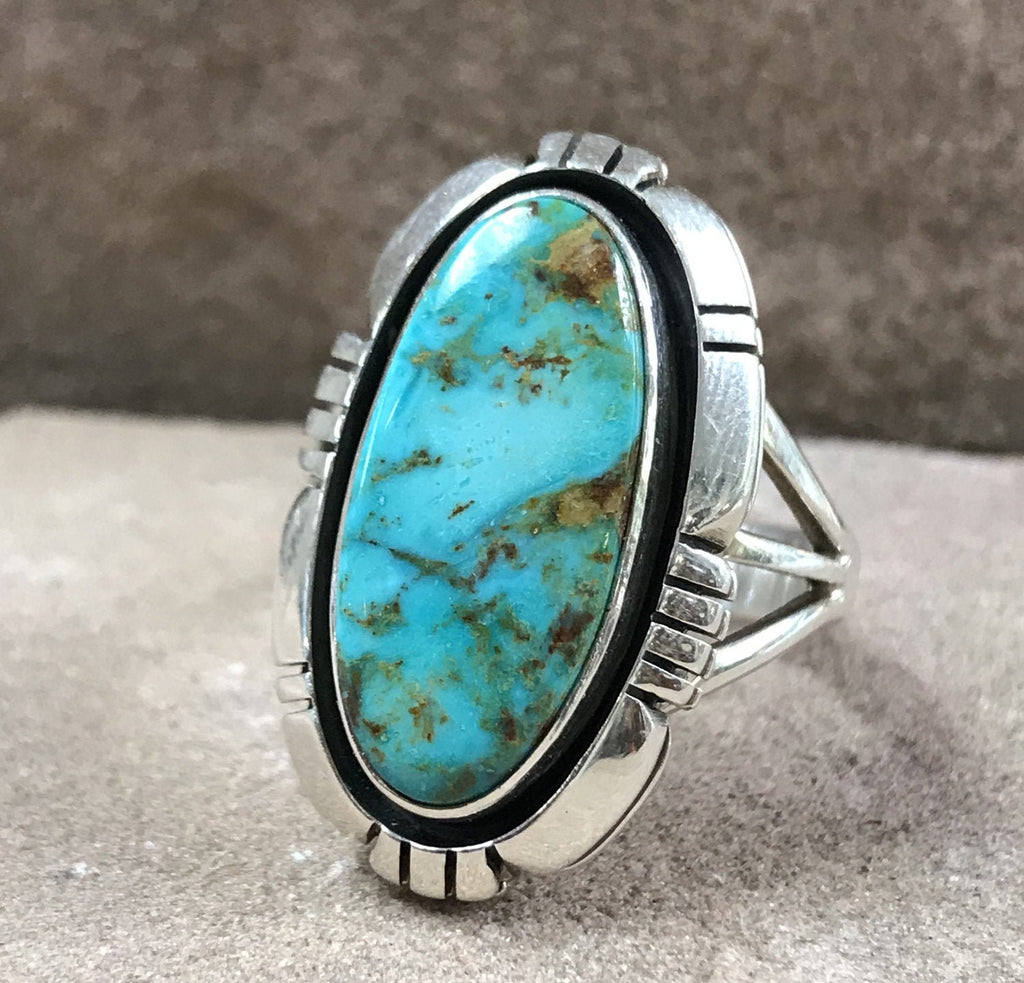 Authentic Navajo Turquoise Oval ring with a shadow box style
