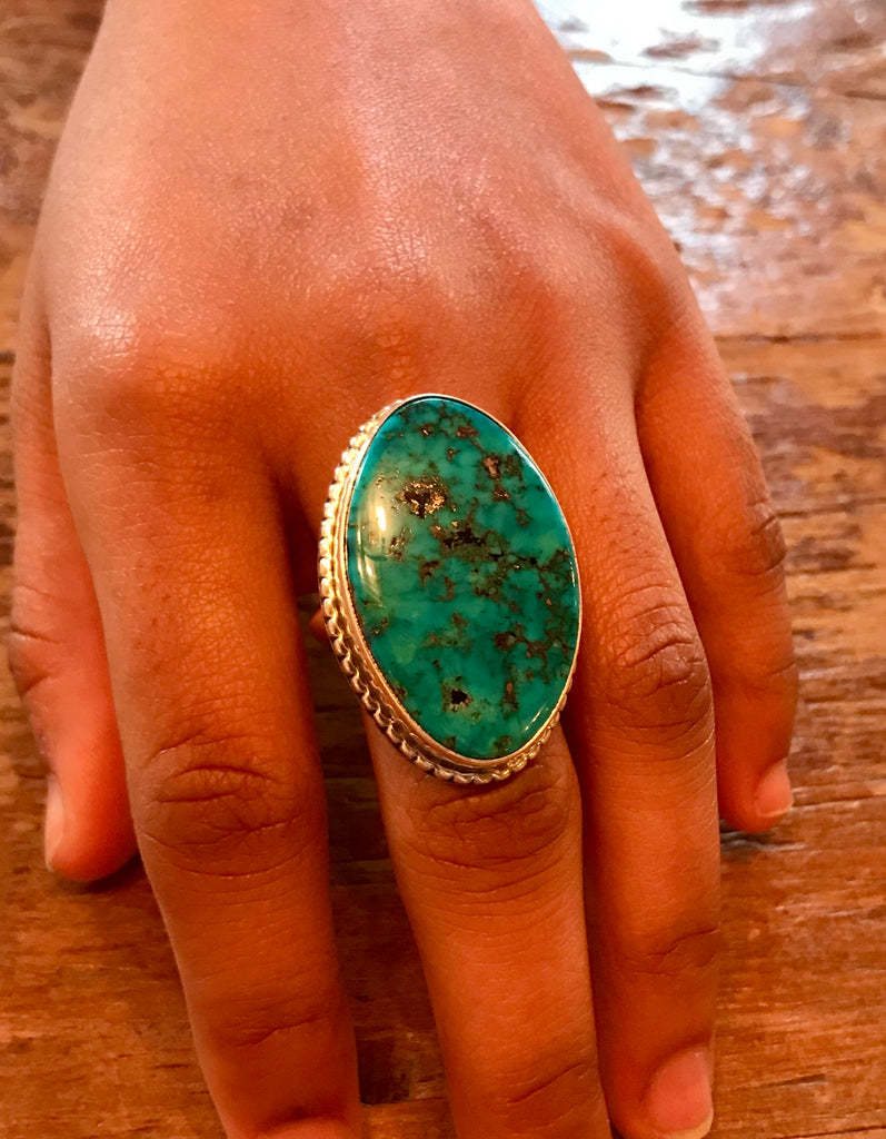Royce Kohlmeyer aka Eagle Boy, Jemez Pueblo Genuine Native American Morenci turquoise ring