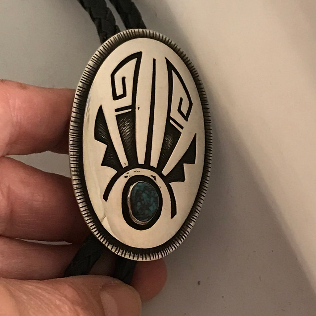 Victor Coochwytewa, Hopi overlay bolo tie with Bisbee Turquoise Circa 1980's   DR2