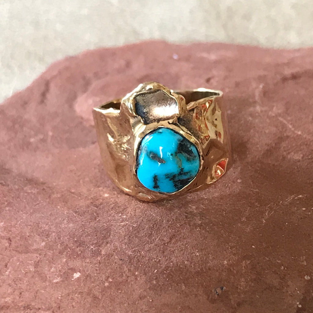 14K Gold ring by Annie Willie, Diné of the Navajo Nation - Indian Mountain Turquoise Ring DR5