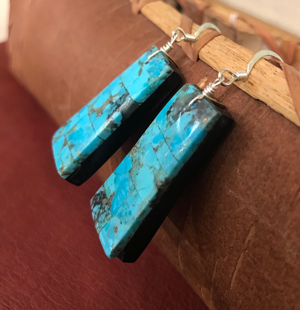 Turquoise Mosaic Earrings by Lupita Calabaza, Santo Domingo Pueblo