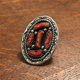 Red Coral Navajo Oval Ring with Twist Rope and Carved Outline  KD369