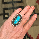 Large oval authentic Navajo ring with blue green turquoise stone  KD221