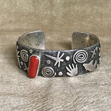 Alex Sanchez, Navajo & Zuni - Petroglyph Applique Bracelet with Genuine Red Coral  CH9-5