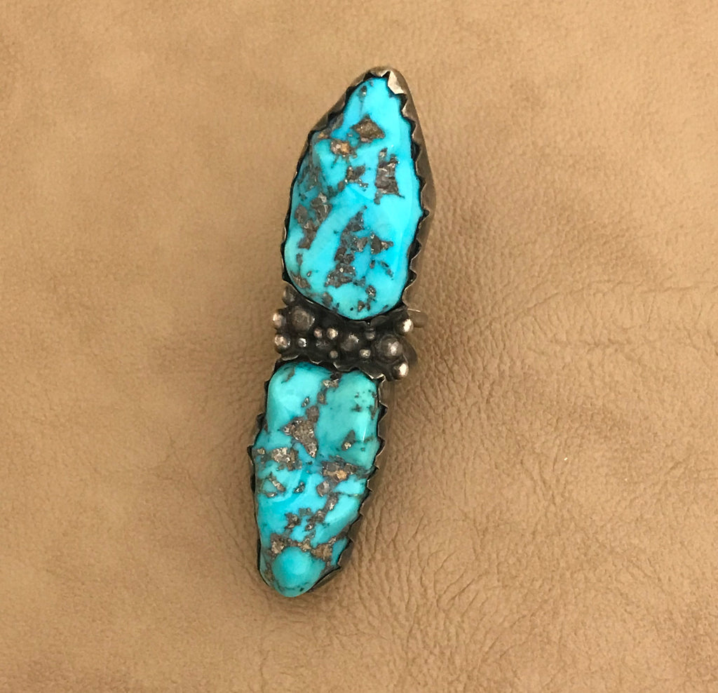 "Navajo Vintage 2 Stone Turquoise 3"" long Ring"