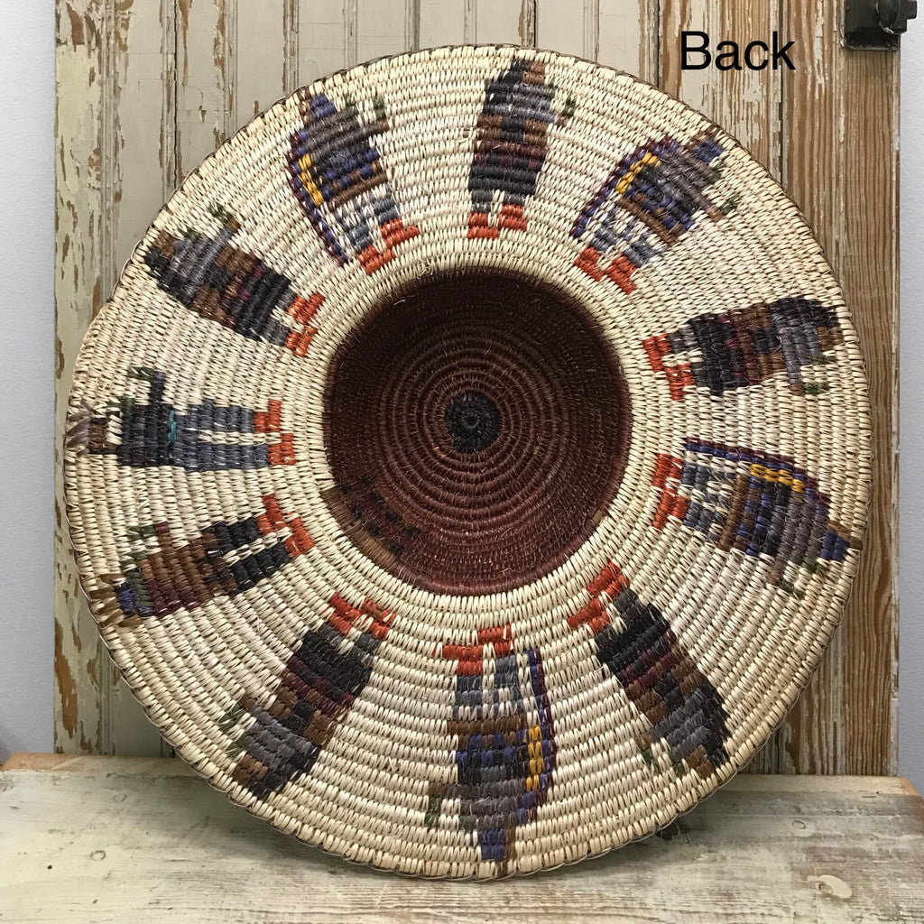 Navajo Large Coiled Basket Hat with Dancers