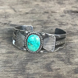 Vintage 1930's Navajo Cuff Hand Stamped Bracelet with Green Turquoise  DC35