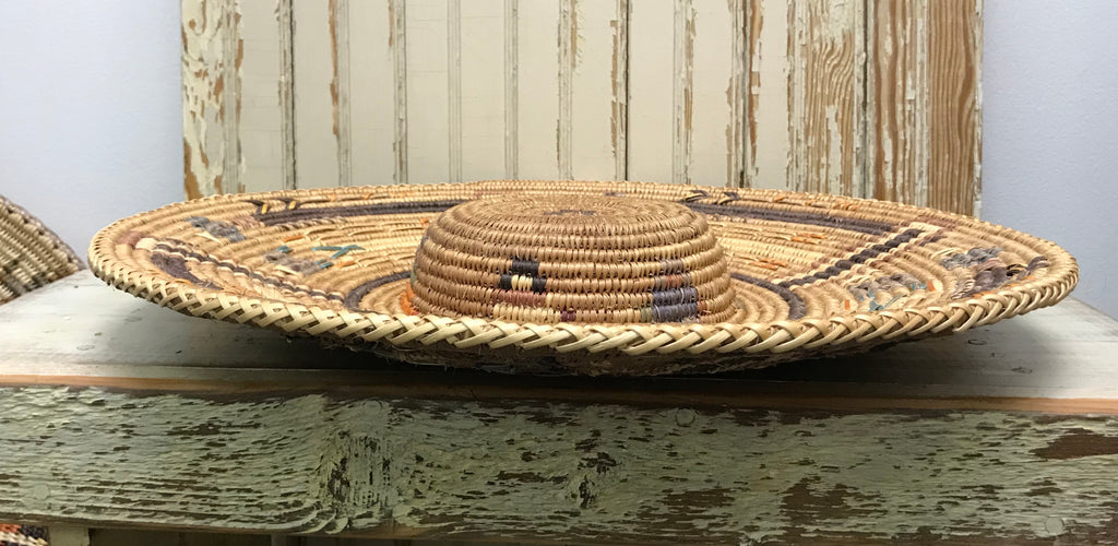 Whirling Yei Design Navajo Large Coiled Basket Hat