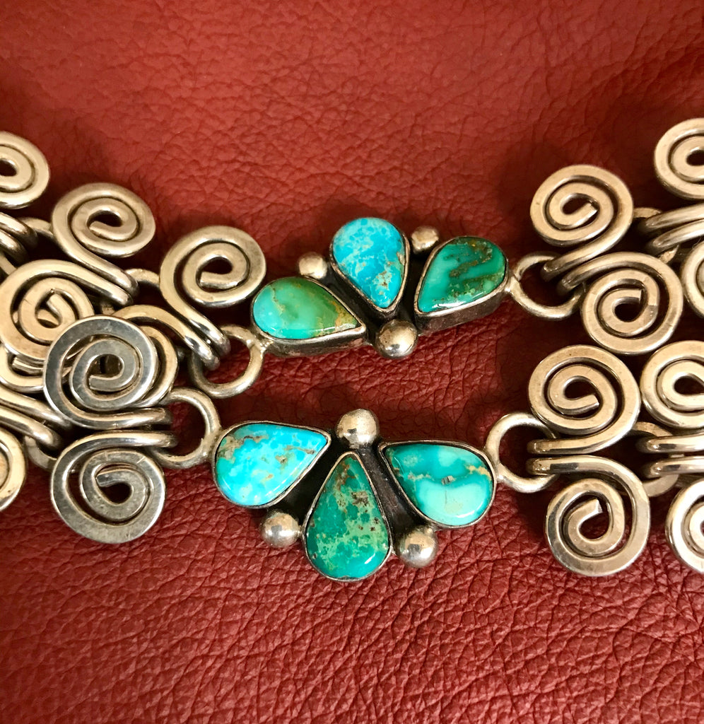 Jolene Eustace, Cochiti and Zuni Genuine handmade Sunface necklace with high-grade turquoise
