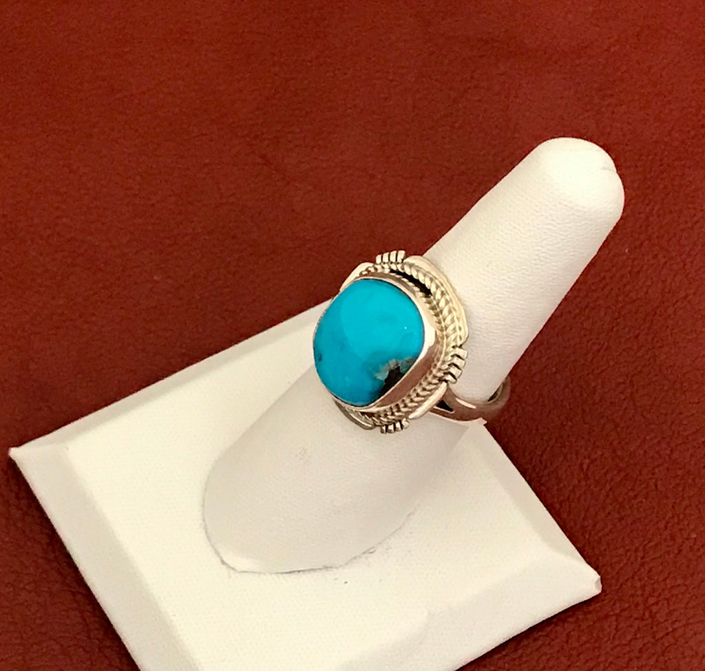 Sterling silver turquoise ring signed JS, Navajo