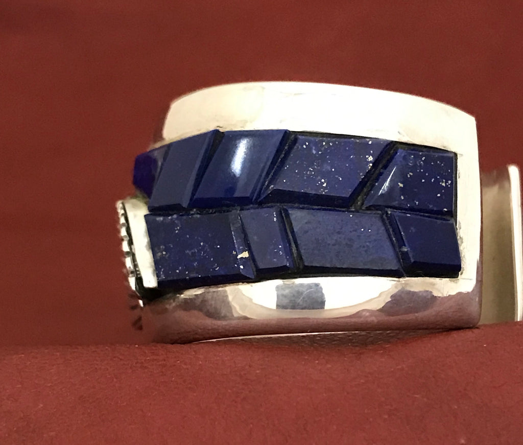 Michael Garcia aka Na Na Ping Genuine Native American Lapis and Sterling Silver cuff