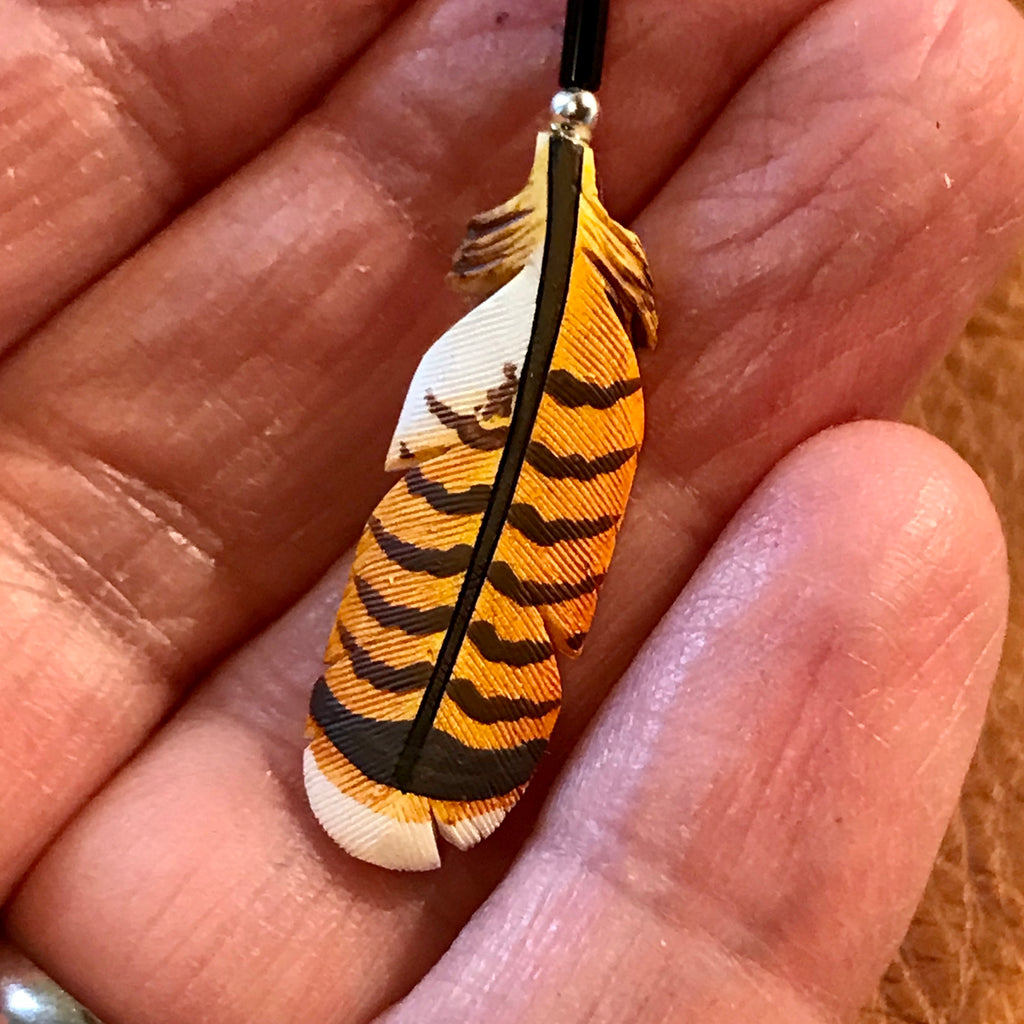 Handmade Bone Red Tail Hawk Feather Pendant by Lonny Cloud, Lakota  1/102