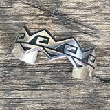 Genuine Hopi Sterling Silver Cuff Bracelet with Clouds by Riley Polyquaptewa, Hopi