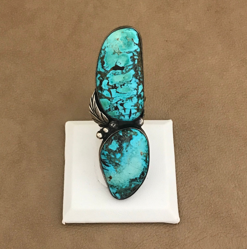 "Vintage 2 stone 3"" long turquoise ring with leaf"