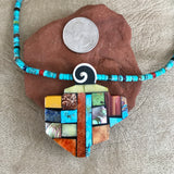 Mary Louise Tafoya, Kewa (Santo Domingo) Pueblo Multi Stone Mosaic Necklace on  Turquoise  1/105