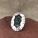 Vintage Navajo Shadowbox Ring with Green Turquoise  18-300