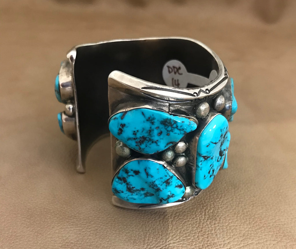 Turquoise Navajo Vintage Cuff with 12 Stones