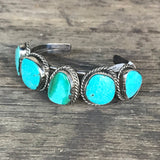 Vintage Turquoise Navajo Cuff Bracelet with 5 Turquoise Stones - Classic!  DR10