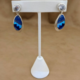 Drop Earrings with Blue & Denim Lapis and Cultured Opal with Cubic Zirconia by David Rosales