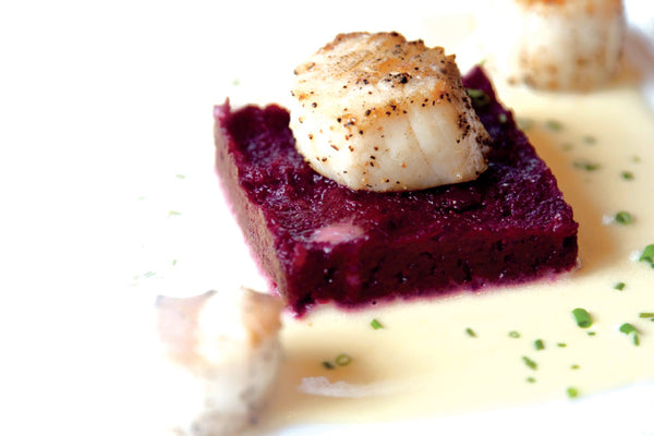 Seared Sea Scallops with Beet Puree and Orange Butter