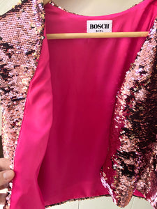 Pink Sequins sleeveless Jacket