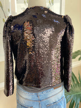 "Load image into Gallery viewer, Black Sequins ""crop"" loose fitting Jacket"