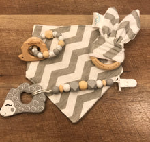 Load image into Gallery viewer, Grey Chevron Premium Teether Gift Set