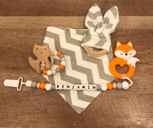 Grey Chevron Premium Teether Gift Set