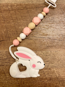 Spring Time Bunny and Lamb Teether Toy Clips