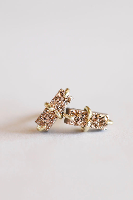 Jaxkelly Rose Gold Bar Druzy Earring