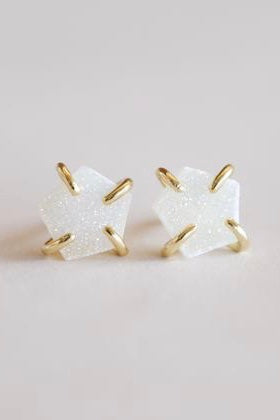 JaxKelly White Druzy Prong Earring