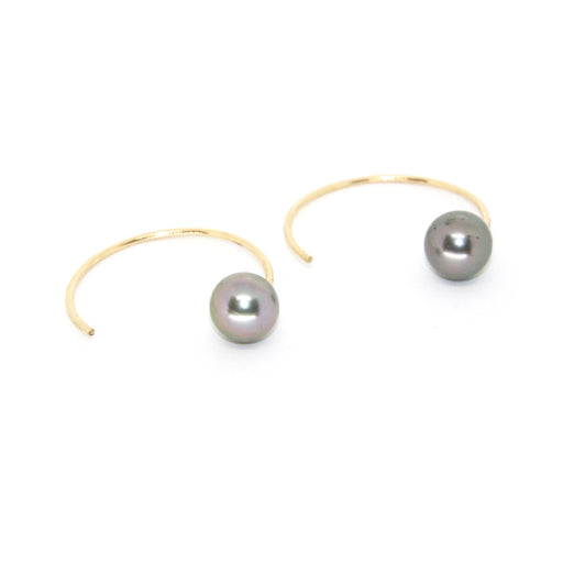 Honi Hoops Lani Earrings in Tahitian Pearl