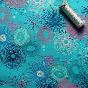 Quilting Cotton - Beth Studley 'Reef' Collection - Main (Turquoise)
