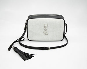 fe6ab327f65 Saint Laurent Lou Camera Bag in Linen Canvas and Leather
