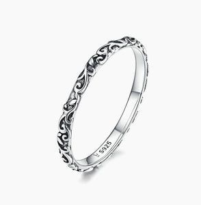 BAMOER Engraved Pattern Ring