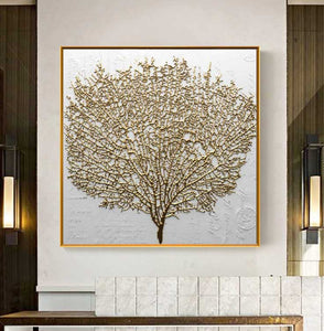 Abstract Golden Tree Pictures for Living Room No Frame