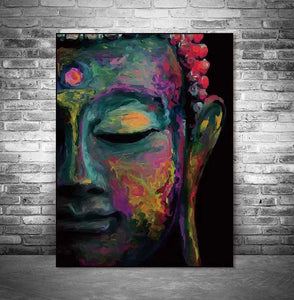 Buddha face on canvas no frame home decor Wall poster decoration