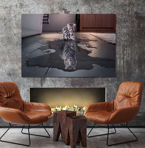 Cat and Tiger Pictures Paintings Canvas Wall Art Painting Decor
